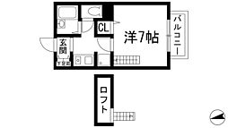 兵庫県川西市中央町の賃貸アパートの間取り