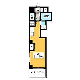 レグルス三ノ輪 8階ワンルームの間取り