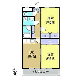 ベル・エアー多摩 4階2DKの間取り