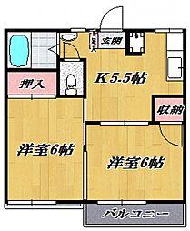 ファミリーハイツD棟[202号室号室]の間取り