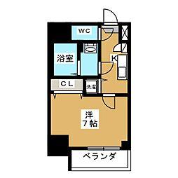 エスプレイス鶴舞ガーデンテラス 9階1Kの間取り