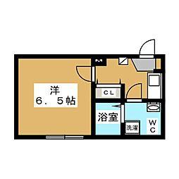 パールハウス町田 2階1Kの間取り