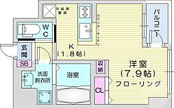 KDXレジデンス仙台駅東 7階ワンルームの間取り