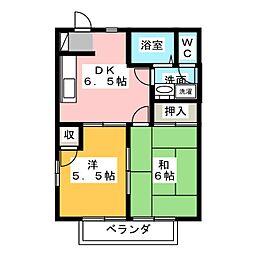 YOKOTAハイツB[2階]の間取り
