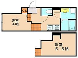 福岡県福岡市中央区清川3丁目の賃貸アパートの間取り