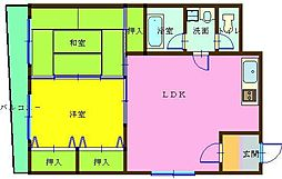 ハニーハイツ三萩野[2階]の間取り