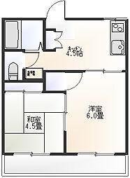 コーポ石井[203号室]の間取り