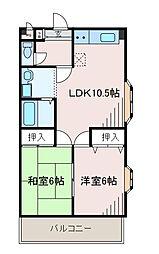 東京都町田市高ヶ坂6丁目の賃貸マンションの間取り