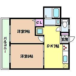 兵庫県神戸市灘区船寺通6丁目の賃貸アパートの間取り
