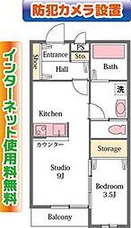 埼玉県東松山市山崎町の賃貸アパートの間取り