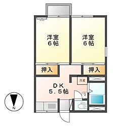 ハイツ喜多[2階]の間取り
