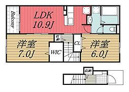 北総鉄道 印西牧の原駅 徒歩25分の賃貸アパート 2階2LDKの間取り