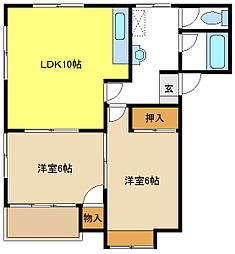 愛知県名古屋市天白区植田山3の賃貸アパートの間取り