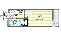 JR大阪環状線 野田駅 徒歩6分の賃貸マンション 12階1Kの間取り