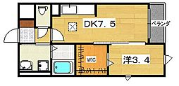 大阪府交野市私部西1丁目の賃貸アパートの間取り