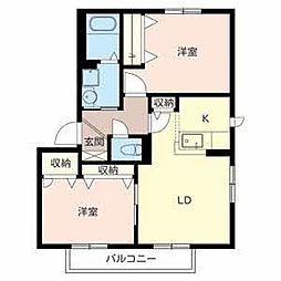 ジュネスコートA棟[2階]の間取り