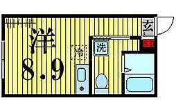 東京メトロ日比谷線 北千住駅 徒歩5分の賃貸マンション 2階ワンルームの間取り