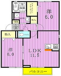 千葉県柏市しいの木台3丁目の賃貸アパートの間取り