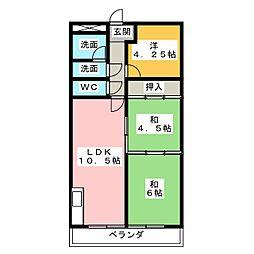 マンションサンハイム[2階]の間取り