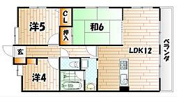 福岡県北九州市小倉北区下到津4丁目の賃貸マンションの間取り