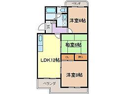 静岡県富士市柚木の賃貸マンションの間取り