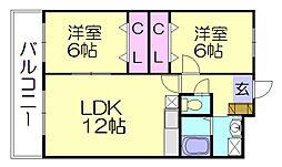 福岡県糟屋郡須惠町大字新原の賃貸マンションの間取り