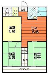 松山西ハイツ[203号室]の間取り