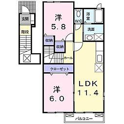 香川県綾歌郡綾川町陶(アパート) 2階2LDKの間取り