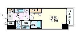 S-RESIDENCE江坂Alegria 7階1Kの間取り