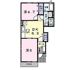 パルフェ三隈 B[1階]の間取り