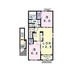 JR中央本線 上諏訪駅 4.4kmの賃貸アパート 2階2LDKの間取り