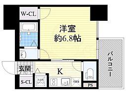 近鉄大阪線 大阪上本町駅 徒歩5分の賃貸マンション 11階1Kの間取り