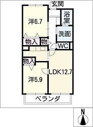 プラシード[3階]の間取り
