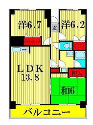 シェモア松戸[7階]の間取り