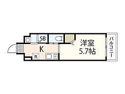 JR芸備線 矢賀駅 徒歩8分の賃貸マンション 7階1Kの間取り