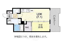 阪神本線 春日野道駅 徒歩6分の賃貸マンション 2階1DKの間取り