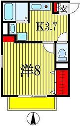 千葉県船橋市本町2丁目の賃貸アパートの間取り