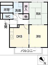 サープラスtwo村田D棟[2階]の間取り