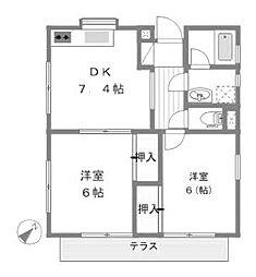 サニープレイス[1階]の間取り