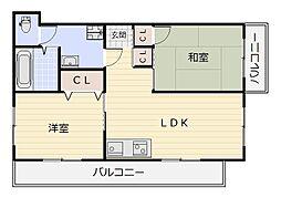 菊ヶ丘ハイツ[106号室]の間取り