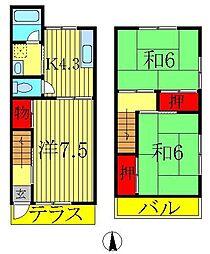 [テラスハウス] 千葉県流山市向小金2丁目 の賃貸【千葉県 / 流山市】の間取り