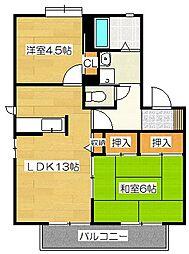 ガーデンハイツヨコオC[2階]の間取り
