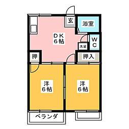 コーポ三本池B棟[2階]の間取り