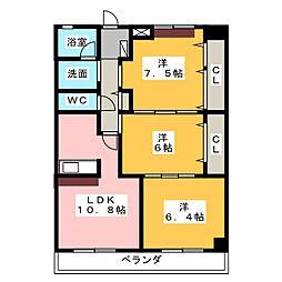 グレース篠木V[5階]の間取り