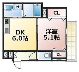 クリエオーレ東中浜 1階1DKの間取り