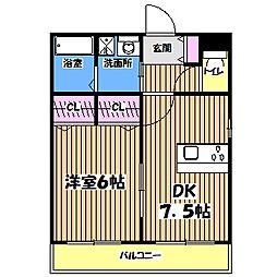 東京都三鷹市中原3丁目の賃貸マンションの間取り