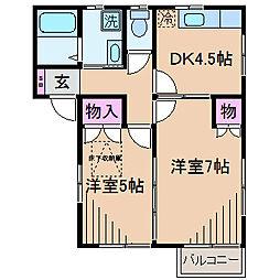 神奈川県川崎市中原区井田1丁目の賃貸アパートの間取り