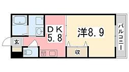 兵庫県姫路市東延末2丁目の賃貸マンションの間取り