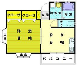 古賀駅前コーポ[1階]の間取り