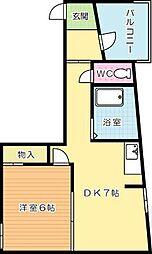 中央アパート[501号室]の間取り